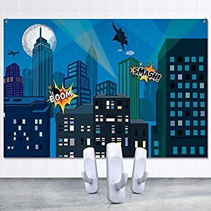 Amazoncom Superhero City Backdrop Including Set Of Hanging Hooks