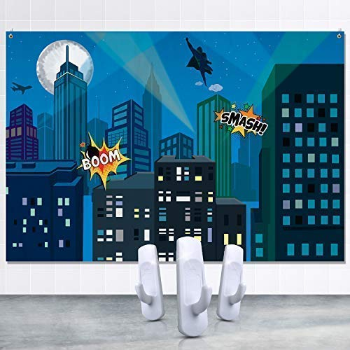 City Hangings - Superhero City Backdrop Including Set of Hanging Hooks for Kids Birthday Party Decoration, Cityscape Background for Photography, Photobooth and Studio, Banner for Indoor and Outdoor Events, 7x5 Feet