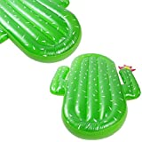 Lumiparty Inflatable Cactus Pool Float Raft Outdoor Swimming Pool Inflatable Float Giant Pool Float Cute Shaped Floating Row Summer Party Beach Holiday for Adult and Kids(with 3PCS Drink Holders).