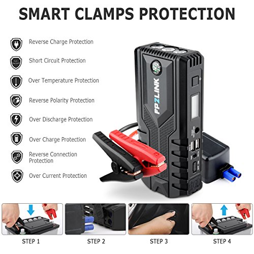 Car Jump Starter with Lithium Battery Booster for 12V Vehicle,Up to 8.4L Gas, 5.5L Diesel Engine,Built-in Safety Hammer,Red Blue Ultra-Bright LED Flashlight and 12000mAh Power Bank by FP2LINK by FP2LINK (Image #5)