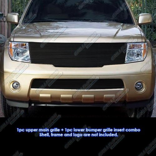 APS Compatible with 2005-2007 Pathfinder 2005-2008 Frontier Black Billet Grille Grill Combo Insert N87799H