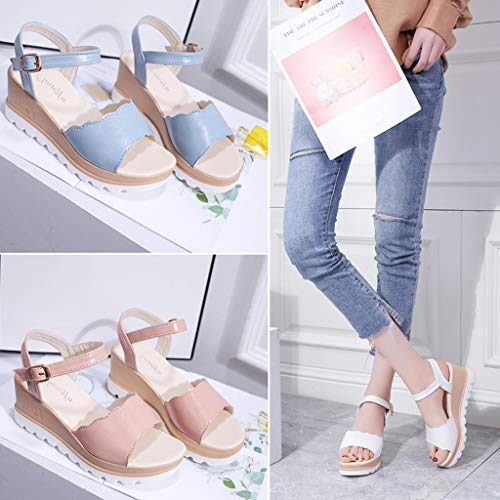 Summer Womens Casual Mid Heel Sandals Wedge Ankle Strap Shoes Buckle Strap Student Beach Shoes (Blue, Size:40=US:7.5) by Tanlo (Image #8)