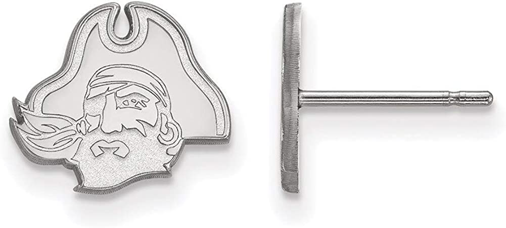 Lex /& Lu LogoArt 10k White Gold East Carolina University XS Post Earrings LAL129304