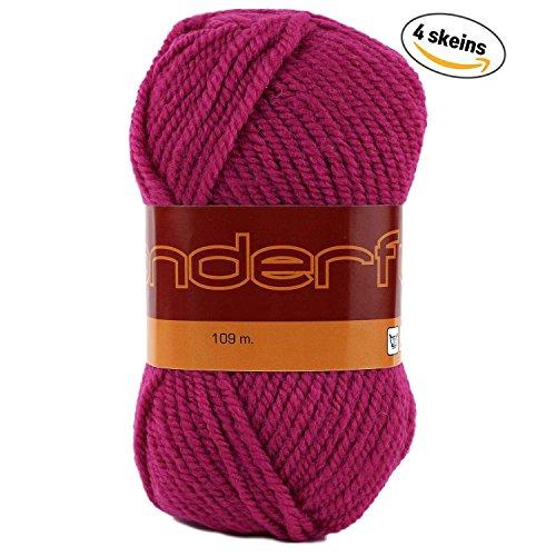 Wonderful 4 Pack (Skeins) Worsted Weight Yarn Wool 50% Acrylic 50% Each Skein 3 oz (85g) 119 Yards (109m) (Hot Pink) Weight Yarn