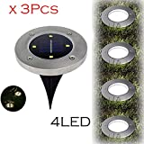Fheaven Solar Powered Light - 3Pcs 4 LED Solar Power Buried Light Ground Lamp Waterproof Outdoor Path Way Garden Decking