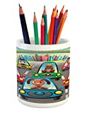 Lunarable Kids Pencil Pen Holder, Colorful Funny Animals in Cars Doggy Piggy Kitten Horse Monkey and Lion Safari Theme, Printed Ceramic Pencil Pen Holder for Desk Office Accessory, Multicolor