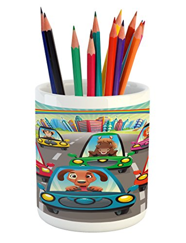 Lunarable Kids Pencil Pen Holder, Colorful Funny Animals in Cars Doggy Piggy Kitten Horse Monkey and Lion Safari Theme, Printed Ceramic Pencil Pen Holder for Desk Office Accessory, Multicolor by Lunarable