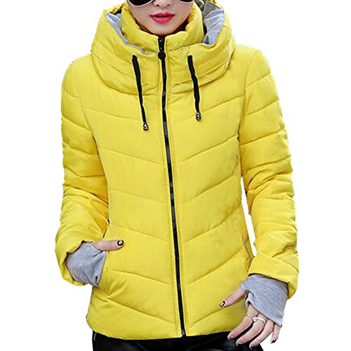BOZEVON Women's Short Down Cotton Jacket Stand Collar Outdoor Coat Winter Yellow