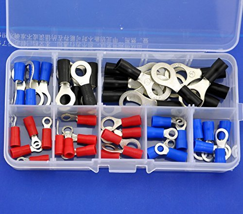 Electronics-Salon 9 Types Ring Crimp Wire Terminal Assortment Kit, Connector, Vinyl-Insulated. Red 19A, Blue 27A, Black 37A, For US Screw: #4 #6 #8 #10 1/4 5/16 3/8. (3/8 Ring Vinyl Terminals)