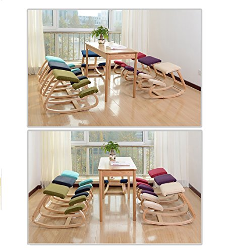 LHby Kneeling Chair Solid Wood Correct The Sitting Posture