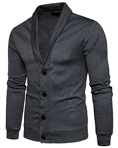 Trensom Men's Casual Slim Fit Lightweight Long Sleeve V Neck Front Button Solid Cardigan Dark Grey X-Large by Trensom