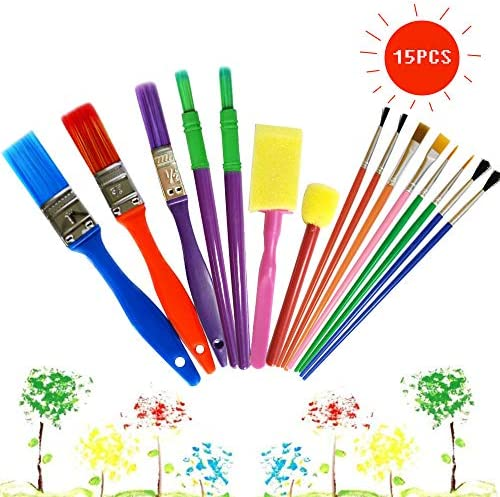 Toyvian Toddler Paint Brushes Plastic Handle Nylon Painting Brush for DIY Painting Crafts 4 Pieces