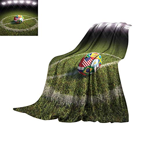 Field Chicago Bears Football Rug - RenteriaDecor Sports Decor,Soft Blankets A Soccer Ball on a Soccer Field Printed Flags of The Participating Countries Throw Rug Sofa Bedding W60 x L35 inch