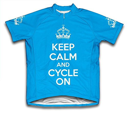 Keep Calm and Cycle On Microfiber Short-Sleeved Cycling Jersey, Blue, Large