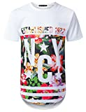 URBANCREWS Mens Hipster Hip Hop NYC 1972 Floral Longline T-Shirt White, XXL