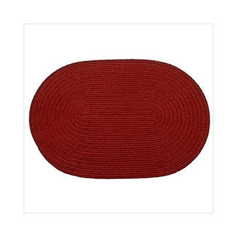 Solid Brilliant Red Braided Rug Size: Oval 2u0027 ...