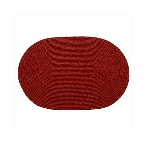 Rhody Rug 45-3x5 Solid Brilliant Red 3 ft. x 5 ft. Braided Rug