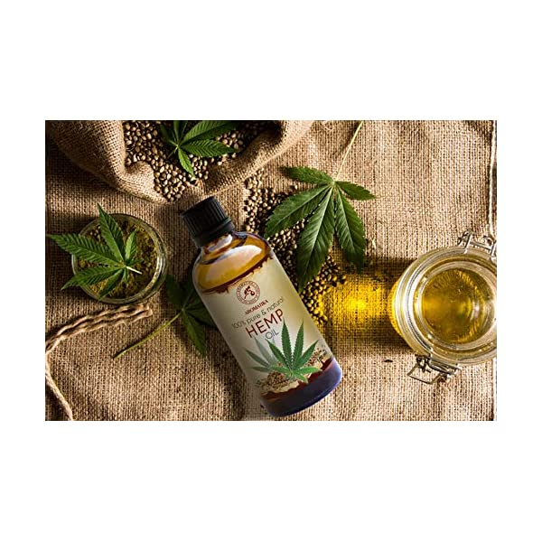 Hemp Oil 100ml – Cannabis Sativa Seed Oil – 100% Pure & Natural Hemp Seed Oil – Benefits for Skin – Hair – Face – Body – Great for Beauty – Relax – Massage – Glass Bottle