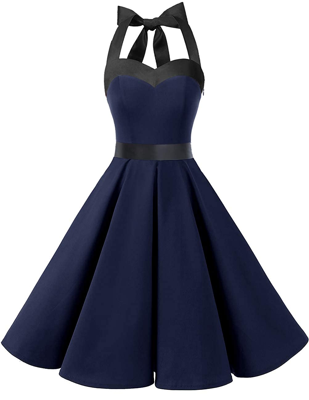 TALLA S. Dresstells® Halter 50s Rockabilly Polka Dots Audrey Dress Retro Cocktail Dress Navy Black S