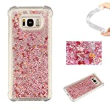 Galaxy S7 Edge Liquid Case,Galaxy S7 Edge Floating Case,Leeook Luxury Beauty Bling Shiny Sparkle Glitter Cover Rose Gold Love Heart Quicksand Flowing Creative Design Crystal Transparent Clear Plastic Soft TPU Protective Shock Proof Shell Case Cover Bumper