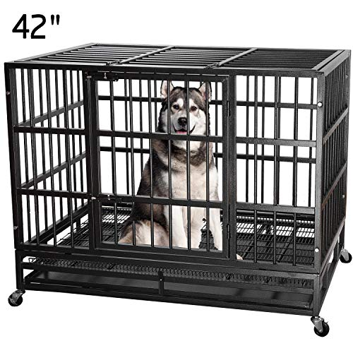 "ITORI 42"" Heavy Duty Metal Dog Cage Strong Kennel Crate and Playpen for Training Separation Anxiety Dog and Pet Indoor and Outdoor with Anti-Escape Locks&Double Doors Design Included Lockable Wheels"