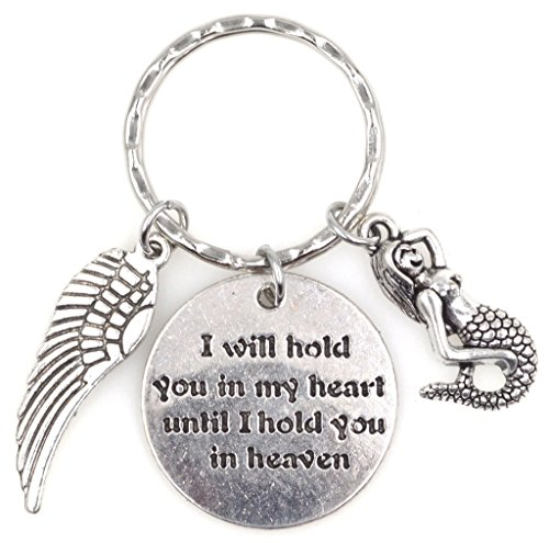 (I Will Hold You in My Heart Until I Hold You in Heaven Angel Wing Mermaid Keychain)