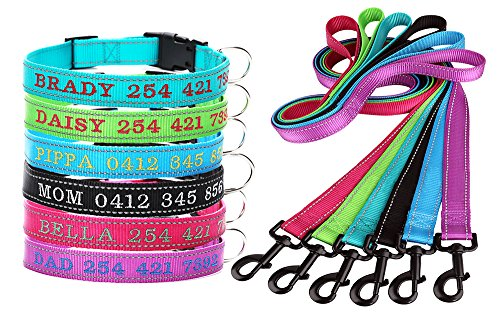 Personalized Custom Dog Collar and leash lead Set - Embroidered Pet Name & Phone Number-Reflective Stitch for Dog Safety - Heavy Duty Adjustable for Small Medium Large Dogs Cats - Prevent Pet Loss (Dog Sets And Lead Collar Small)