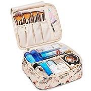 Reise Kosmetiktasche Große Make-up-Tasche Schminktasche Kosmetiktasch Organizer für Damen und Mädchen (Beiger Flamingo)