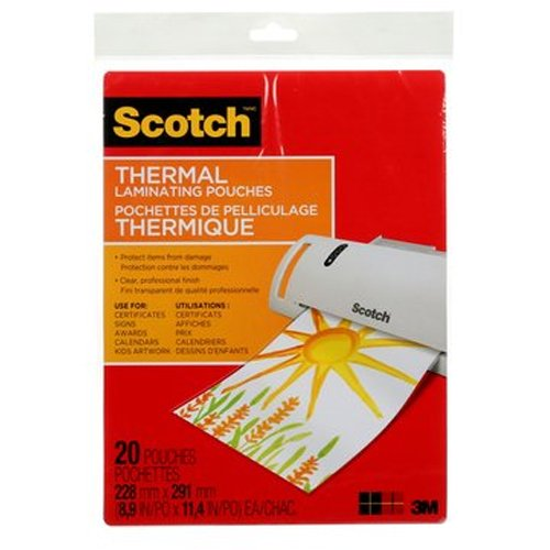 Scotch Thermal Laminating Pouches, 8.9 x 11.4-Inches, 3 mil thick, 20-Pack (TP3854-20),Clear ()