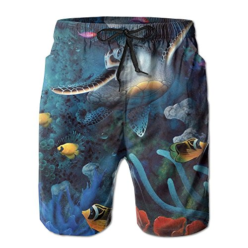 Game Life Shorts Sea Whale Mens Tree Quick Dry Swim Trunks Beach Shorts With Mesh Lining (Short Sea Life Set)