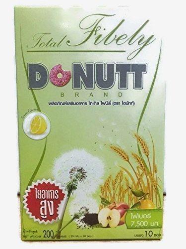 Detox Psylium Husk ,Total Fibely Donutt -Fiber 7,500 mg.(Box of 10 sachets)Drink Healthy Lemon Flavor,With Frutooligosaccharide(FOS),Apple cider vinegar,Skin Bright