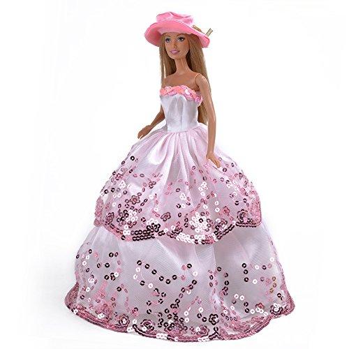 Amazon.com: Pink Princess Wedding Outfit Party Clothes Chrismas Dress for Barbie Doll: Toys & Games