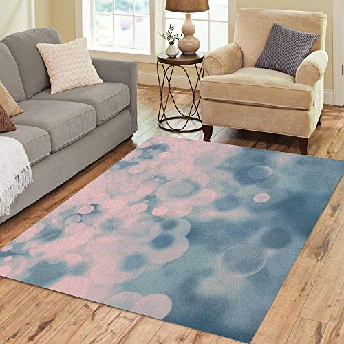 Pinbeam Area Rug Teal Pale Pink and Blue Bokeh on Dark Home Decor Floor Rug 2