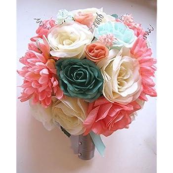 Amazon 17 pc wedding bouquet bridal silk flower coral teal 17 pc wedding bouquet bridal silk flower coral teal green mint gray peach silver mightylinksfo