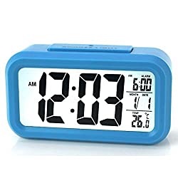 ZLXING LED Backlit Sensor Touch Alarm Clock with Time/Date/Temperature Display Snooze Function Battery Operated (Blue)