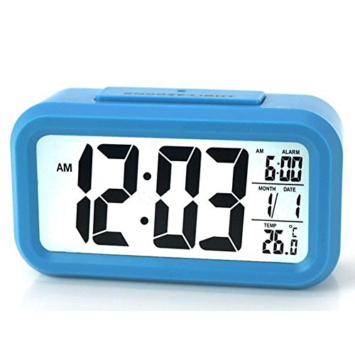 ZLXING Alarm Clock with Backlight Sensor Touch LED Clock with Time/Date/Temperature Display, Snooze Function,Battery Operated(Blue)