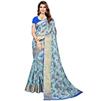 Akhilam Women's Printed Linen Saree with Unstitched Blouse Piece (Green_BGBLT80005)