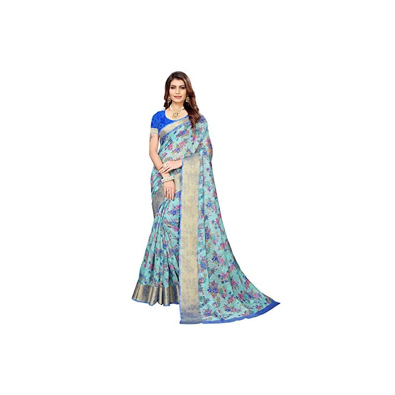 51beCy%2BVSsL. SS768  - AKHILAM Women's Linen Saree With Unstitched Blouse (BGBLT80005 Sarees_Green)