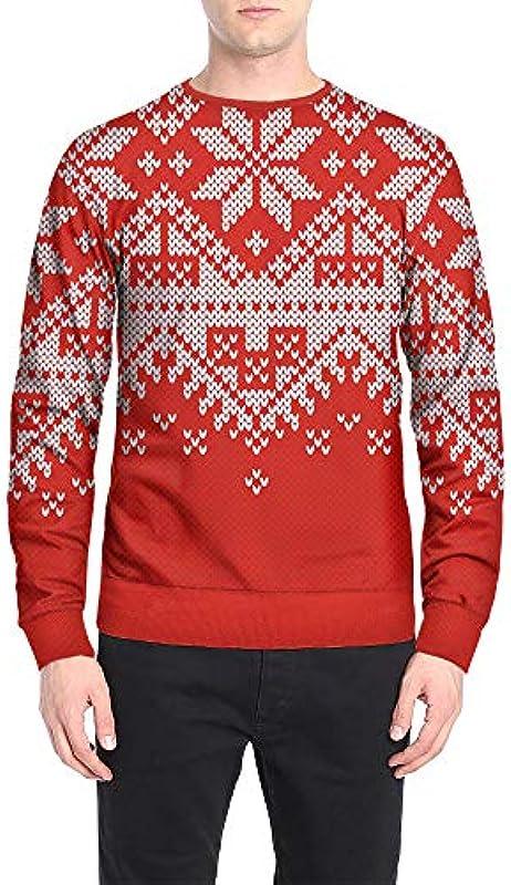 FRAUIT kurtka męska Boże Narodzenie nadruk sweter Causal okrągły dekolt sweter męski sweter z dzianiny sweter bożonarodzeniowy bluza z długim rękawem z okrągłym wycięciem