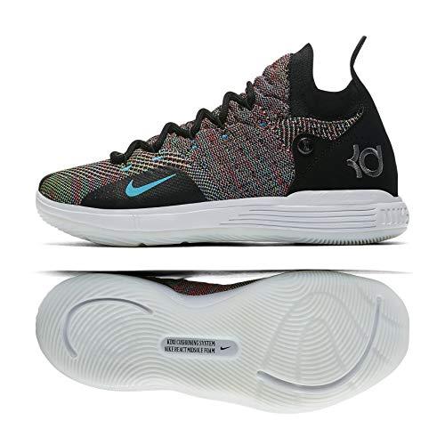 Nike KD11 (GS) Kids Basketball Shoes (7 M US Big Kid, Black/Chlorine Blue)