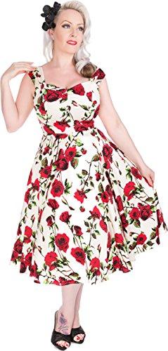 Ditsy Kleid Rosen Cremefarben Damen Vintage mit Hearts Roses amp; Swingkeid Rosen FIqt1aw