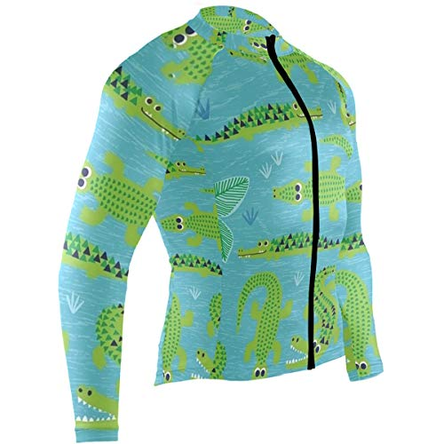 - SLHFPX Green Crocodile Mens Cycling Jersey Top Full Sleeve Outdoor Cycle Clothing Outfit