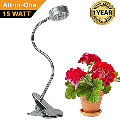 ZOTRON All-in-One 15W, Flexible Growing LED Light Bulbs for Greenhouse, Grow Tent, Indoor Plants and Hydroponic Garden, Full Spectrum Growing Lamps 120 Degree Wide Area Coverage