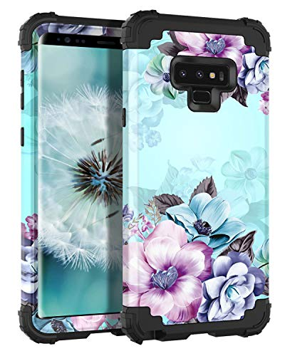 Casetego Compatible Galaxy Note 9 Case,Floral Three Layer Heavy Duty Hybrid Sturdy Armor Shockproof Full Body Protective Cover Case for Samsung Galaxy Note 9-Blue Flower