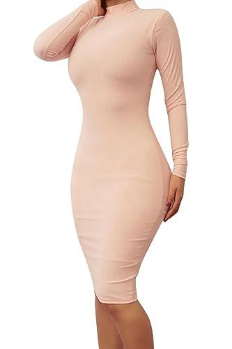 LaSuiveur Women's Fleece Line Turtleneck Long Dress Party Bodycon Fit