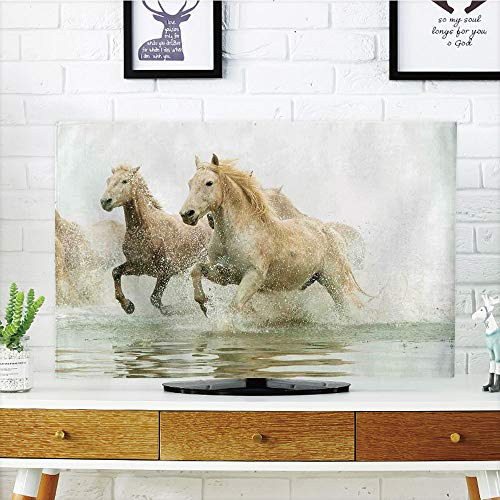 "iPrint LCD TV Cover Multi Style,Animal Decor,Camargue Horses in The Water Ancient Oldest Breed in Southern France Origin Artful Photo,White Beige,Customizable Design Compatible 60"" TV"