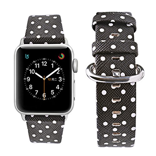 - Wolait Replacement for Apple Watch Band 38mm 40mm, iWatch Polka Dots Strap Compatible with Apple Watch Series1 Series2 Series3 Series4-White Polka Dots in Black Background for Women Girls (38mm/40mm)