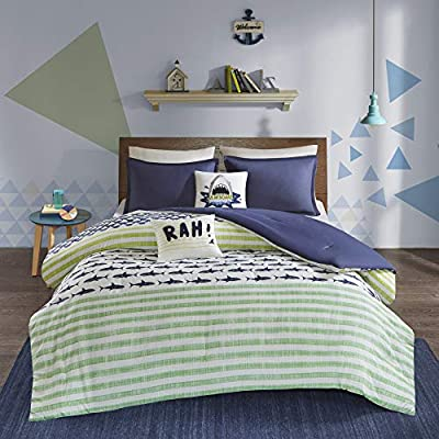 Urban Habitat Kids Finn Comforter Set, Green/Navy: Home & Kitchen