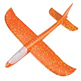 Fainosmny Foam Throwing Glider Airplane Inertia LED Aircraft Toy Hand Launch Airplane Mode Education Toys Souptoys (Yellow, Free)