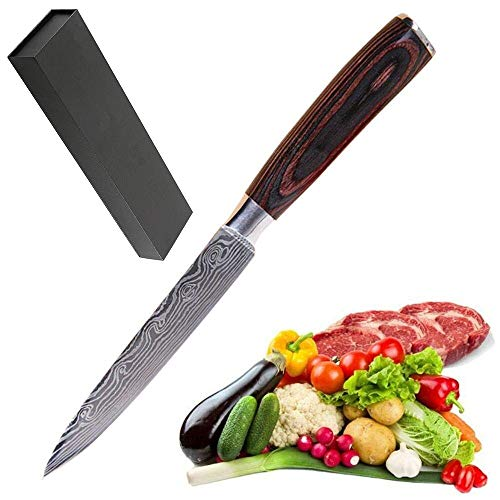 Utility Knife 5 inch Professional Kitchen Chef Knife-German High Carbon Stainless Steel-Razor Sharp Petty Knife,Ergonomic Handle with Gifted Box ()